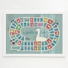 Art for fun  Royal Game of Goose in a vintage A3 poster by buxaina, $19.00