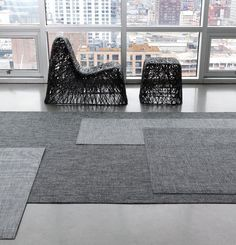 CHILEWICH COLOR COLLECTION   BLACK & WHITE   WOVEN FLOORMATS IN ASSORTED BLACK AND WHITE WEAVES