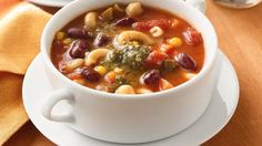 Try throwing some spinach and green beans into this slow-cooker Two-Bean Minestrone. #MeatlessMonday