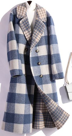 vintage blue plaid Woolen Coats Loose fitting medium length coat fall women coats double breast fitness clothes clothes cute clothes for women clothes lululemon Mens Smart Coats, Coats For Women, Jackets For Women, Ladies Coats, Girls Coats, Winter Coats Women, Waterproof Coat, Plaid Coat, Coat Dress