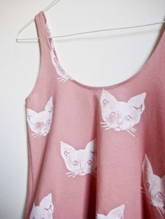 Pink kitty tank for a sweet crazy cat look - that's my cup o' tea, @Danielle Filjon ! | Leah Goren on Etsy