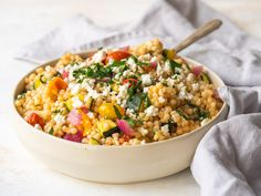 Pearl Couscous Recipes, Pearl Couscous Salad, Israeli Couscous Salad, Couscous Salad Recipes, Healthy Side Dishes, Side Dish Recipes, Baked Vegetables, Veggies, Fresh Herbs