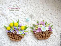 """Брошь """"Корзина цветов"""" - цветы из полимерной глины,цветы ручной работы"""