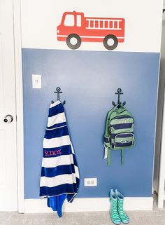 Loving the anchor hooks, too! Big Boy Bedrooms, Boy Rooms, Feather Wallpaper, Toddler Rooms, Project Nursery, Wall Sticker, Room Inspiration, Favorite Color, Paint Colors