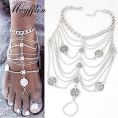 Fashion Coin Anklets Bracelets for Women Barefoot Sandals Foot Jewelry Ankle Bracelet Chaine Cheville Pulseras Tobilleras Mujer