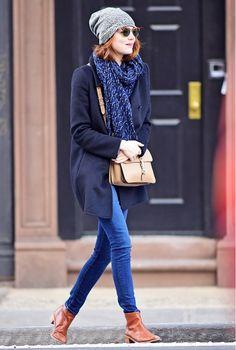 Emma Stone wearing Louis Vuitton scarf + Loeffler Randall booties