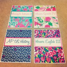 Lilly Pulitzer binder covers!!! I want to do this really bad!! If you use the link in the comments of this website she explains how she did them :)