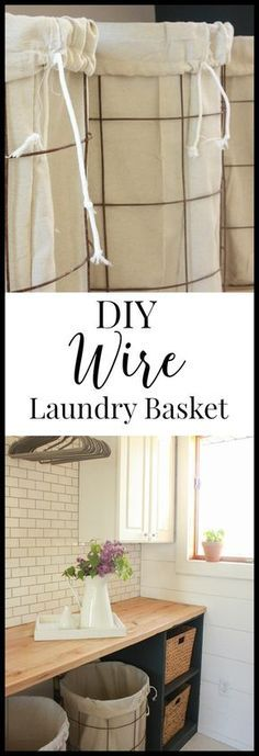 DIY wire laundry baskets with drop cloth liners. These were made in one afternoon and cost less than 40 dollars! | Twleveonmain.com