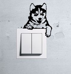 Cute-Dog-Husky-Baby-Pet-light-switch-funny-wall-decal-vinyl-stickers-1