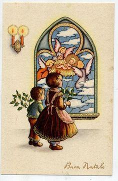 Bambini Angeli Gesù Presepe Mosaico Natale Childrens Xmas PC Circa 1930