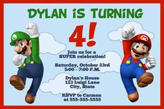 Super Mario and Luigi Digital Invitation. $5.00, via Etsy.