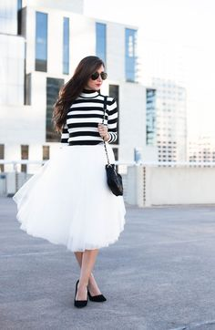OOTD | White Tulle Skirt | Black & White Stripe Turtleneck | Chanel Cross body purse | Black Pumps | Spring Outfit Ideas | Spring Style
