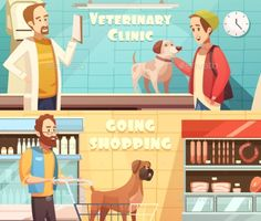 Dog horizontal banners set with veterinary and shopping symbols cartoon isolated vector illustration. Editable EPS and Render in J