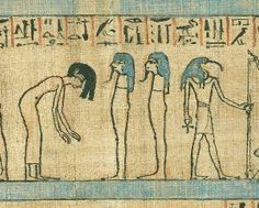 Papyrus of Anahi. the dead woman with her hair forwards and bending her body as a sign of respect. XX Dynasty. Ancient Egypt . British Museu...