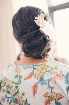 wedding hair, headpiece updo, pretty robe