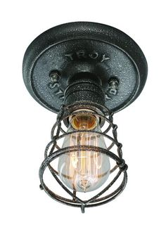 One Light Old Silver Cage Flush Mount : J2L3 | Living Lighting on King