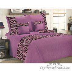 Šestidílné mikrosaténové povlečení na 2 lůžka - Zebra fialová… Comforters, Blanket, Bed, Furniture, Home Decor, Homemade Home Decor, Stream Bed, Home Furnishings, Rug