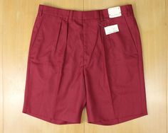 DEADSTOCK Islander Linen Bermuda Shorts English Sports Shop Red Pleats 1980's Preppie NOS With Tags by TexareVintage on Etsy