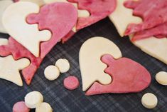 Dalmatian DIY: {RECIPE} Pink and White Puzzle Heart Valentine's Day Dog Treats