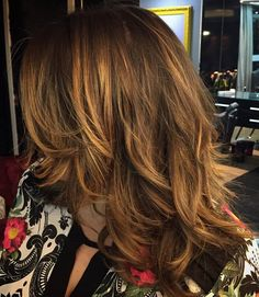 Medium Layered Brown Hair With Caramel Balayage