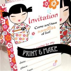 Birthday Invitation Japanese Girl Invite Custom Invitation - Birthday invitation in japanese