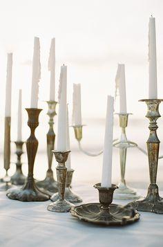 Warm Coastal Wedding Inspiration. Brass candlesticks.
