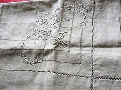 GORGEOUS Antique Natural French Linen Small Tablecloth Table Topper Lustrous Raised Embroidery Monogram Fine Vintage Linens