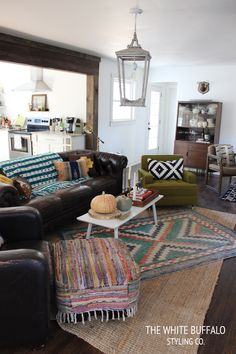 Eclectic furniture, pillows and rugs!!