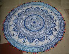 Hippie Round Mandala Tapestry With Multicolor Pom -Pom Beach Throw Yoga Mat Mandala Throw, Mandala Tapestry, Bohemian Bedspread, Mandalas Painting, Nature Prints, Hippie Bohemian, Mandala Design, Art Deco Fashion, Beach Towel
