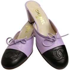 Chanel... Bi Tones Purple/Black Mules | From a collection of rare vintage shoes at https://www.1stdibs.com/fashion/accessories/shoes/