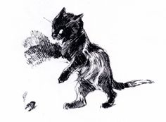 """Théophile Steinlen, """"Cat waving its blurring paw"""" (poster).  """"'It burns! It burns!' -- cat waves its paw after touching a cigar. Steinlen, first to draw blurring of limbs in art to show motion.""""  Caption from http://www.wisdomportal.com/Poems2011/Notes-ArtInMotion.html"""