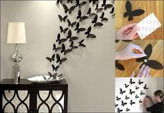 To create this you will need a plate 3M double sided tape and butterfly cutouts. 1. Put your plate where your decor is going to be. 2. Put from 2-5 butterflies on the plate (secure with double sided tape) 3. Add more and more butterflies in the same...