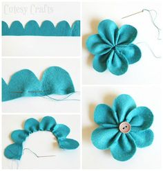 Risultati immagini per felt flowers Fabric Bow Tutorial, Felt Flower Tutorial, Fabric Crafts, Sewing Crafts, Cardboard Crafts, Clay Crafts, Felt Flowers Patterns, Felt Crafts Patterns, Flower Pens