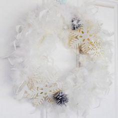Chic Snow Wreath | AllFreeChristmasCrafts.com