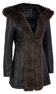 Black Rivet Womens Hooded Distressed Faux-Leather Coat W/Faux-Fur Trim