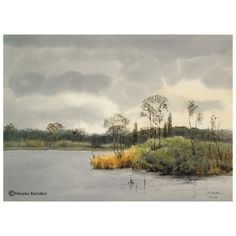 Little island – Eilandje Watercolor on Arches 140 lb rough, 26×36 cm (10.5×14.5 cm) Location: near Haren, the Netherlands - €550