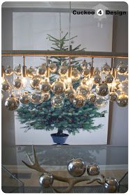DIY Christmas Ornament chandelier and Ikea Margareta wall art