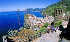 A series of fifteenth-century footpaths connect the five colorful villages of Cinque Terre, Italy, in the cliffs high above the Mediterranean. With autos on these ancient roads still few and far between, this is one of the few places where hikers can still travel car-free through the heart of Old Europe.