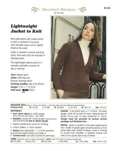 Lightweight Jacket to Knit - Dovetail Designs K2.26