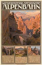 GUSTAV JAHN (1879-1919). NIEDERÖSTERR. - STEIRISCHE / ALPENBAHN. 1908. 39x26 inches, 100x66 cm. K.K. Hof, Vienna.