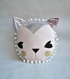 Image of pink/silver cat cushion
