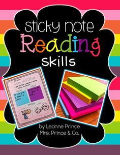 Sticky Note Reading SKILLS! compare and contrast, main idea and details, problem/solution, author's purpose, sequence, classify/categorize, cause and effect, fact/opinion