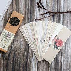 30 Unidades/pacote Retro Flor Planta Marcador de Papel China Estilo Chinês Do Vintage Bookmark para Livros Página Marcador Papelaria Presentes Da Escola