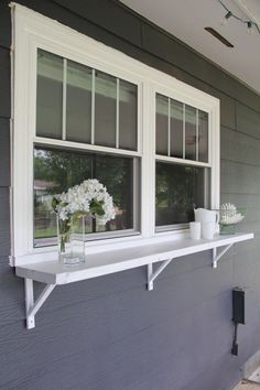 a Window Serving Buffet Build a DIY window ledge buffet for outdoor entertaining!Build a DIY window ledge buffet for outdoor entertaining! Window Bars, Decks And Porches, Building A Deck, Deck Design, Window Design, Garden Design, Backyard Patio, Backyard Landscaping, Sloped Backyard