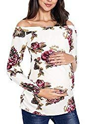 Cinery Womens Maternity Tops Floral Off Shoulder Long Sleeve Ruched Sides T-Shirt Pregnancy Clothes Maternity Work Clothes, Maternity Skirt, Stylish Maternity, Maternity Tops, Maternity Fashion, Maternity Sleepwear, Maternity Underwear, Maternity Swimwear, Pregnancy Outfits