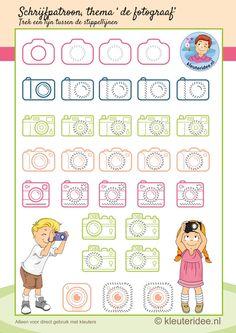 Schrijfpatroon bij thema 'de fotograaf' voor kleuters, camera, kleuteridee.nl, free printable writing pattern photographer theme.