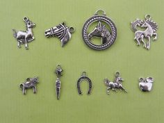 The Horse Charms Collection - 9 different antique silver tone charms etsy