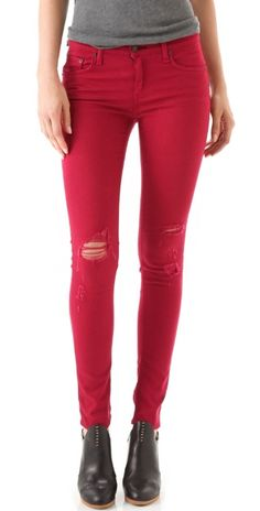 red skinny jeans with holes