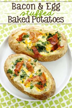 Baked Potatoes get an easy and delicious update with eggs, bacon, and cheese! These Bacon & Egg Stuffed Baked Potatoes are great for breakfast or dinner! August and Bacon Month is coming to a close. Breakfast Baked Potatoes, Stuffed Baked Potatoes, Twice Baked Potatoes, Egg Recipes For Breakfast, Eat Breakfast, Breakfast Casserole, Baked Potato Recipes, Bacon Recipes, Oeuf Bacon