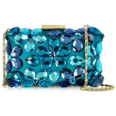 Love Moschino Handbags Crystal and Fabric Clutch (3.561.275 IDR) ❤ liked on Polyvore featuring bags, handbags, clutches, blue, floral print handbags, floral purse, man bag, purse clutches and crystal handbag